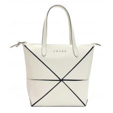 Сумка наплечная женская, Cross Origami, кожа наппа гладкая+ткань, цвет бежевый, 38 х 32 х 13 см
