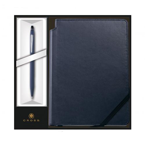 Набор: Шариковая ручка Cross Click Midnight Blue и Записная книжка Cross Journal Midnight Blue, A5