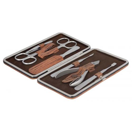 Маникюрный набор Erbe, 7пр. Футляр: натур.кожа, цвет коричневое дерево