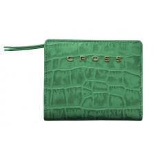 Кошелёк Cross Bebe Coco, кожа наппа фактурная, цвет зелёный/рыжий, 11,2 х 9,4 х 2 см