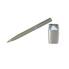 """Набор """"Pierre Cardin"""": шариковая ручка + газовая пьезо зажигалка. Цвет - светлая бронза/хром"""