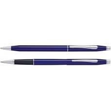 Набор Cross Classic Century Translucent Blue Lacquer: шариковая ручка и ручка-роллер, цвет - синий