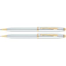 Набор Cross Century II: шариковая ручка и карандаш 0,7мм. Цвет - серебристый/золото
