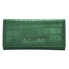Кошелёк Cross Bebe Coco, кожа наппа фактурная, цвет зелёный/рыжий, 19,5 х 10,2 х 2,5 см