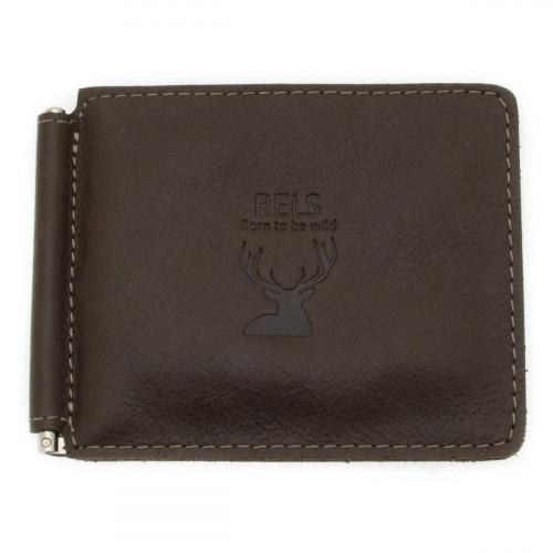 Зажим для денег мужской кожаный RELS Bravo 74 1117